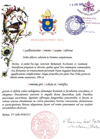Registrazione presso la Segreteria dello Stato Vaticano